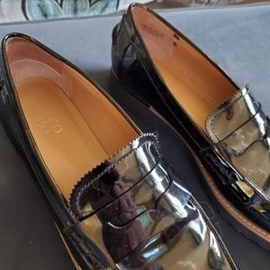 Franco Sarto black patent loafers size 9.5